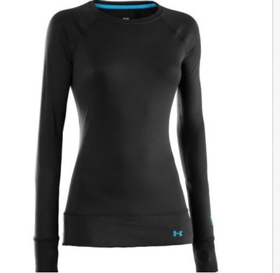 UNDER ARMOUR Women's Base 2.0 Crew Shirt Thermal Base Layer Top NEW cortez black