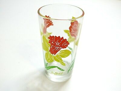 "Vintage Boscul Daffodil Peanut Butter Glass Name On Bottom 5"" Tumbler Yellow"