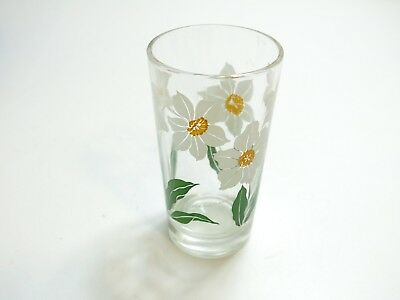 "Vintage Boscul Narcissus Peanut Butter Glass Name On Bottom 5"" Tumbler White"