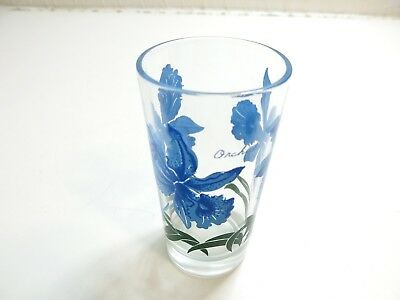 "Vintage Boscul Orchid Peanut Butter Glass Small Name On Top 5"" Tumbler Blue"