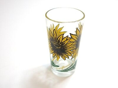 "Vintage Boscul Sunflower Peanut Butter Glass Name On Bottom 5"" Tumbler Yellow"