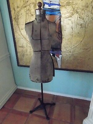Antique 1920's MANNEQUIN DRESS FORM / WOOD BODY / CAST IRON STAND / SHABBY CHIC