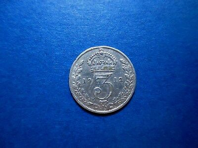 Great Britain 3 Pence 1912 Lightly Circulated SILVER