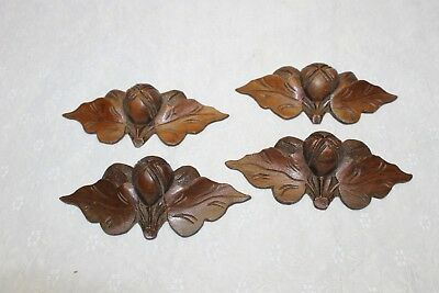 4 Antique Carved Walnut Fruit / Nut Leaf Drawer Pulls - Estate Find!!