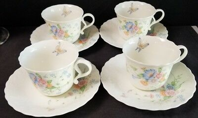 (4) Mikasa Something Blue Teacups/Coffee cups and Saucers