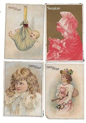 Soapine Soap Set Of 4 Victorian Trade Cards -Tennis Racket-Baby Scale-Cat