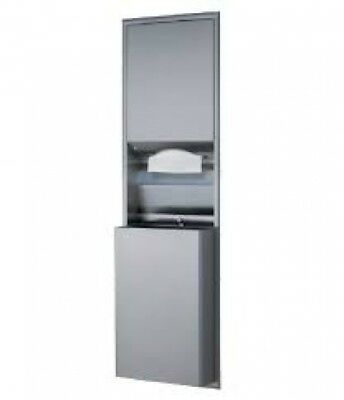 Bobrick Classic B394 Combo Paper Towel and Waste Receptacle 45L Silver Recessed