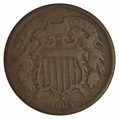 TWO CENT - 1865 US TWO 2 Cent Piece - First Coin with In God We Trust Motto *012