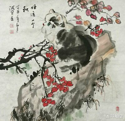 Excellent Chinese Painting on rice paper By Liu Hewen :cat P25