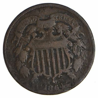 1864 TWO Cent Piece - 1st Year Issue - 1st Appearance of In God We Trust! *041