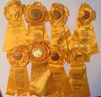 lot of 8 vintage Yellow Horse Show Ribbons