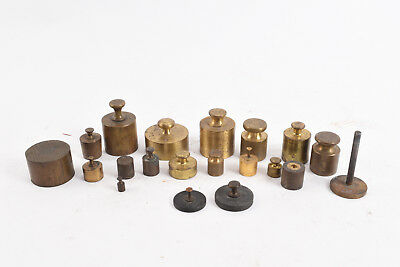 20 Assorted Antique Brass Calibration Balance Scale Weights V79