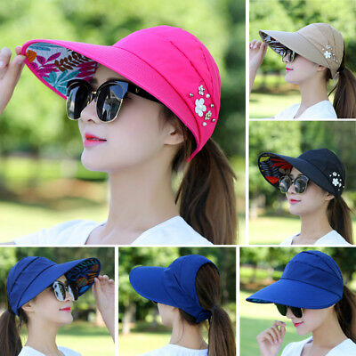 Women Ladies Hat Sun Wide Brim Cap Beach Summer Visor Uv Straw Cover Protection