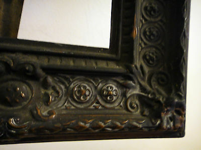 Antique TIN Picture Frame Very Ornate ~ from ceiling tin    primitive Brass