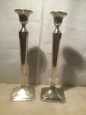 Pair Of Chased Sterling Silver Candlestick 340.