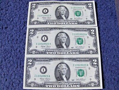 Lot Of Three U.s. Two Dollar Notes With Consecutive Serial Numbers Nice Deuces!