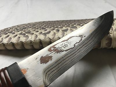 Saji TS-340A White Snake-Skin, Rainbow Damascus Rare Collector's Knife Special!!