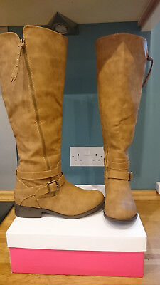 727b1f12dde JUST FAB KNEE High Boots - Wide Calf - Brown - Parlee - Size 6 BOXED - FREE  P&P