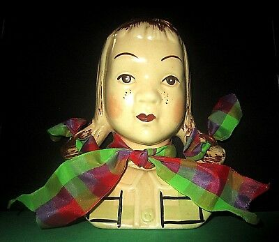 """Marked Jean D231 Girl With Pig Tails Wall Pocket Head Vase 7 1/4"""" 6 1/4"""" 2 7/16"""""""