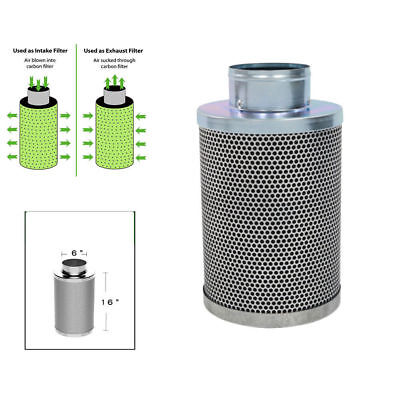6 Inch Silver Air Carbon Filter Native Charcoal Removes Odor For Inline Fans