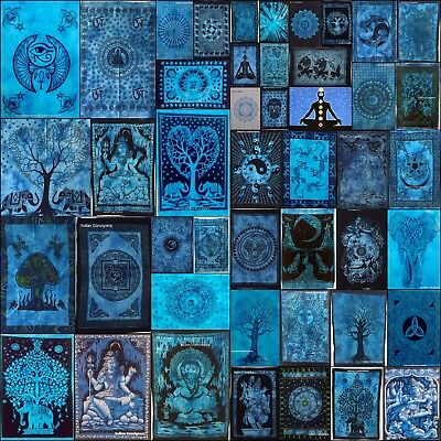 Indian Blue Cotton Wall Hanging Textile Home Decor Hippie Small Posters Tapestry