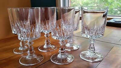 6 Crystal Small Wine or Sherry / Port Glasses Cristal D'Arques - Louvre design?