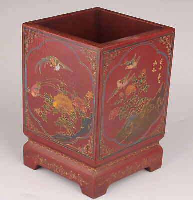 Qing Dynasty Old Lacquerwar Pen Container Handmade Painting Magpie Flower