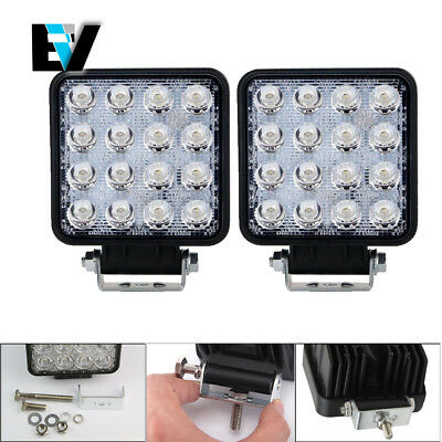 2X 4''in 48W Led Work Light Bar Spot Driving Jeep Truck Ford Offroad Pods