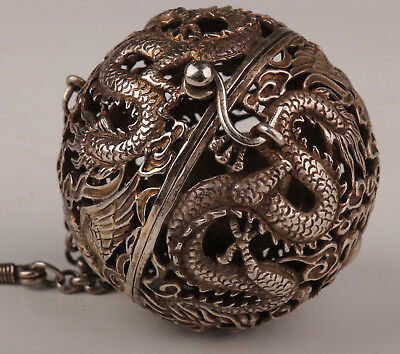Smoked Incense Burner Old Copper Plating Silver Hand dragon Ball Statue Ornament