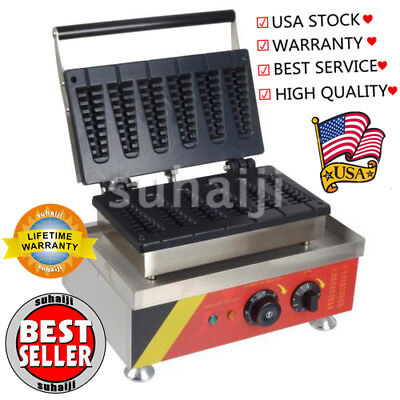 Commercial Nonstick 110V Electric 6pcs Lolly Waffle Maker Baker Machine Pan