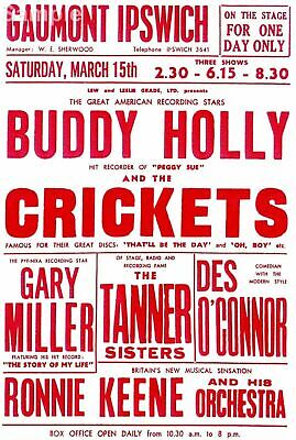 Vintage Buddy Holly - Gaumont Ipswich Rock n Roll Music Concert Poster Print