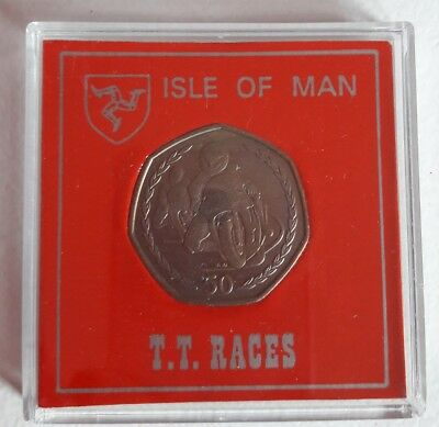 1996: ISLE OF MAN TT 50p PENCE COIN IN ORIGINAL BOX EXCELLENT CON ,RARE FIND