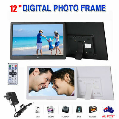 """12"""" HD 1080P LED Digital Photo Frame Movie Player Video Remote Control Gifts AU"""