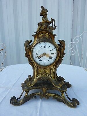 cartel pendule bronze style LOUIS XV gilt bronze mantel clock antique