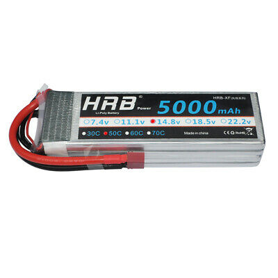 HRB 14.8V 5000mAh 4S 50C 100C RC LiPo Battery for Airplane Helicopter Racer AKKU