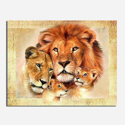Lion Family DIY 5D Embroidery Diamant Sticker Cross Stitch Painting Home#NEU