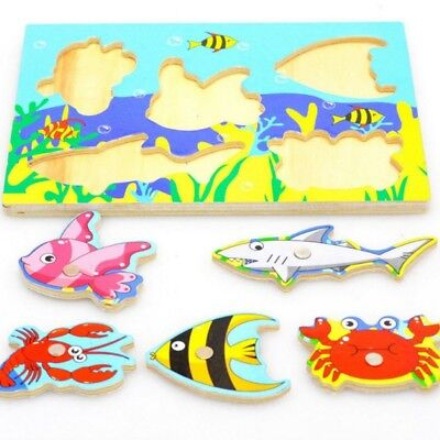 US Educational Toys Fishing 3D Puzzle Toy Wooden Magnetic For Toddlers Kid