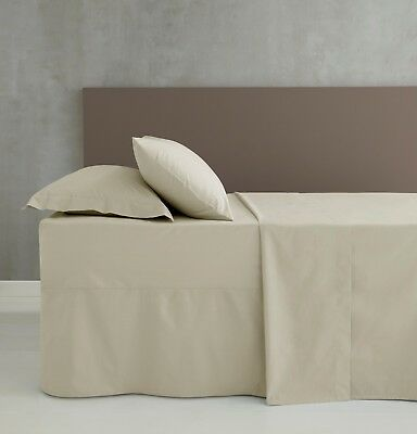 Catherine Lansfield Easy Iron Plain Dyed Percale Flat/Fitted Valance Sheet Cream