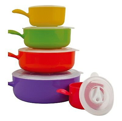 10pc Coloured Microwave Food Bowl Set With Lids Cook Pot Pan Storage Containers