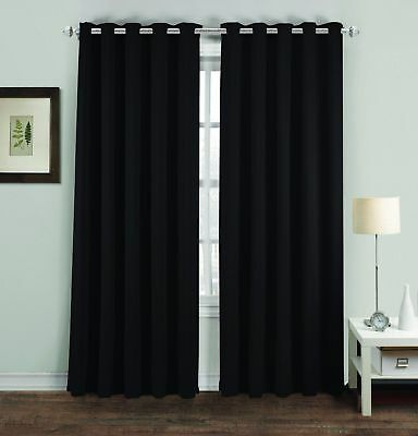 Blackout Pair Curtains Polyester Thermal Ready Made Eyelet Ring Top Black New