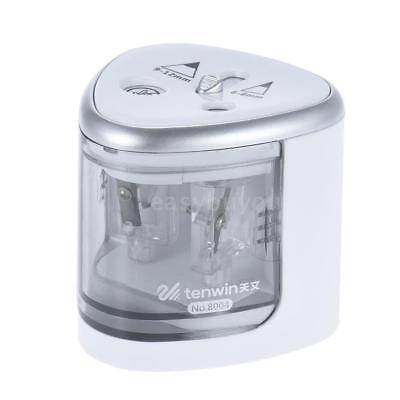 Automatic Electric Pencil Sharpener Battery Operated W/ 2 Holes Silver C2O0