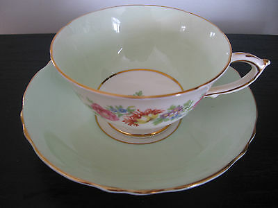 Paragon Mint Green Ring Of Flowers Teacup And Saucer