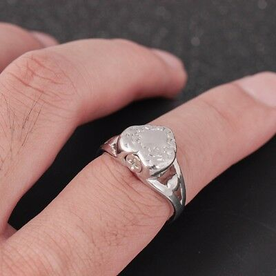 Stainless Steel Silver Love Heart Ring Cremation Urn Memorial Ash Ring Size 6-9