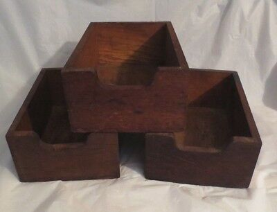 "VINTAGE ANTIQUE SOLID WOOD DRAWERS with CUT-OUT PULL - SET OF 3 (10.5"" each)"