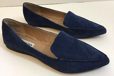 f6a00b054ca Steve Madden Women s Feather Blue Suede Pointy Toe Flats size 7 Shoes