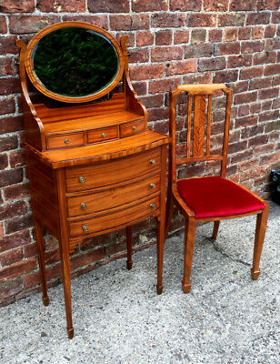 Antique Ladies Edwardian Satinwood Dressing Table/ Bow Front Vanity Stand