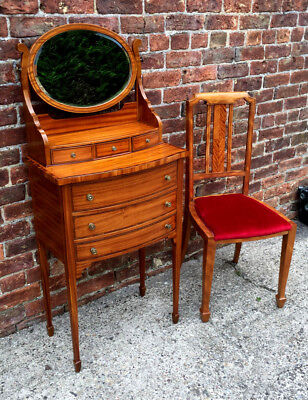Exceptional Ladies Edwardian Satinwood Dressing Table/ Bow Front Vanity Stand.