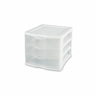 Sterilite 17918004 White Frame Clear 3-Drawer Unit