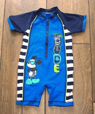 f515c5273 MATALAN baby boys blue Mickey Mouse UV sunsuit swimsuit, 18-2 months,  immaculate