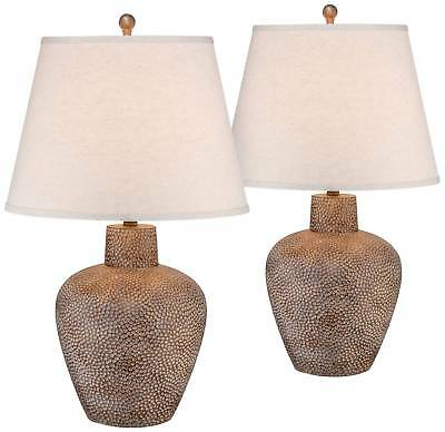 Rustic Table Lamp Set of 2 Hammered Pot Washed Brown for Living Room Bedroom